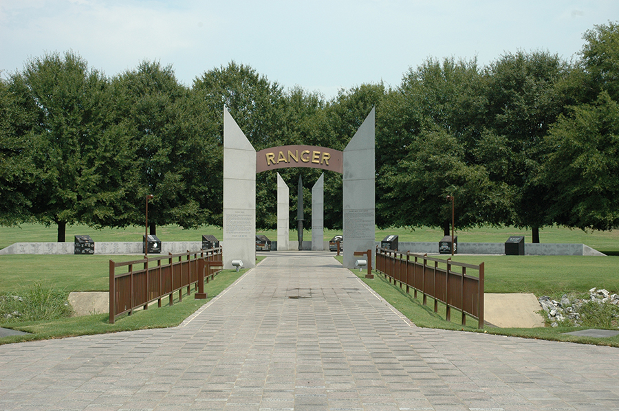This memorial was dedicated in 1994 and honors members of the Airborne Rangers.