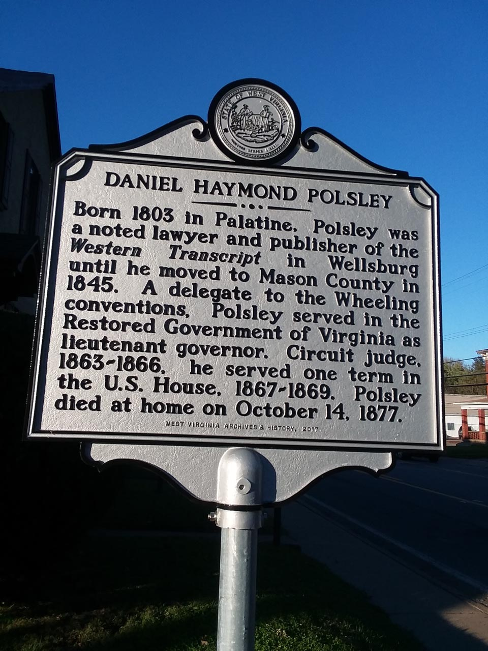 Daniel Haymond Polsley Highway Historical Marker