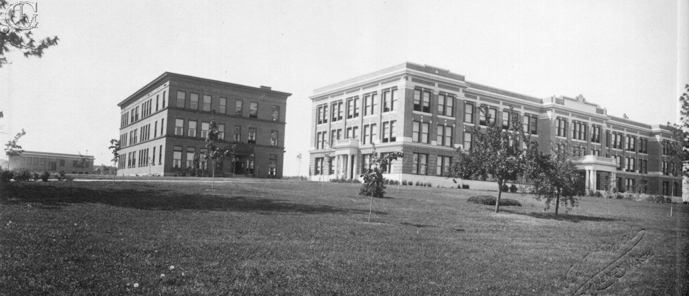 The Normal School at right, Training School center, and in the background, at left, is the Manual Arts building