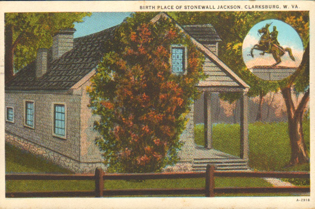 "Color postcard of an artist's rendering of the Thomas J. ""Stonewall"" Jackson birthplace in Clarksburg, WV.