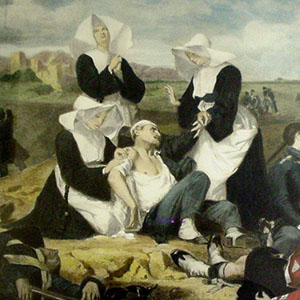 17th or 19th century painting of the Daughters of Charity in action