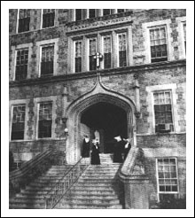 Entranceway of hospital, circa late 1910s.