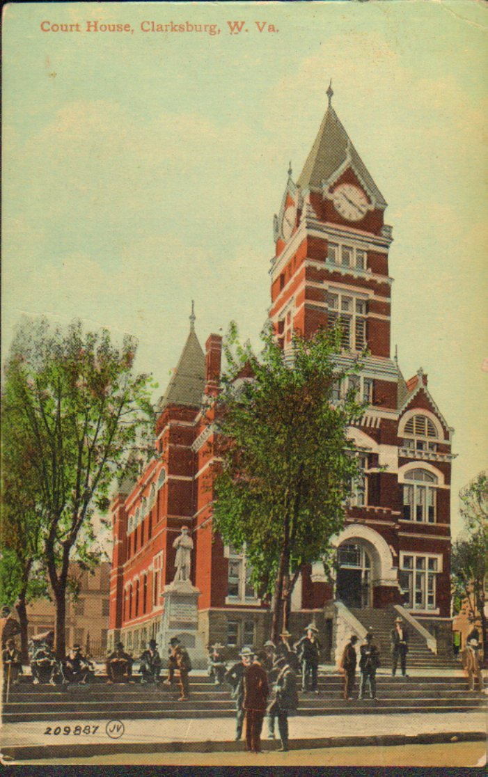 Hand colored print postcard of the Clarksburg West Virginia courthouse from 1888-1932. 