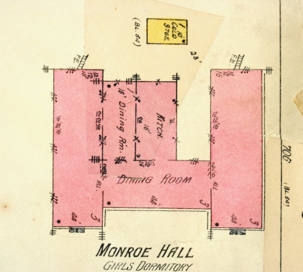 1916 Monroe Hall layout from Sanborn fire insurance map.