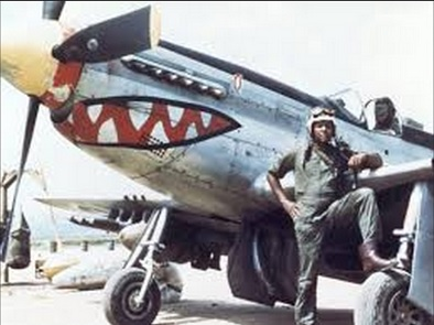 """Chappie"" James with his P-51 Mustang in Korea"