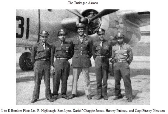 Tuskegee Airmen of 99th Pursuit Squadron. James is the tall fellow in the center