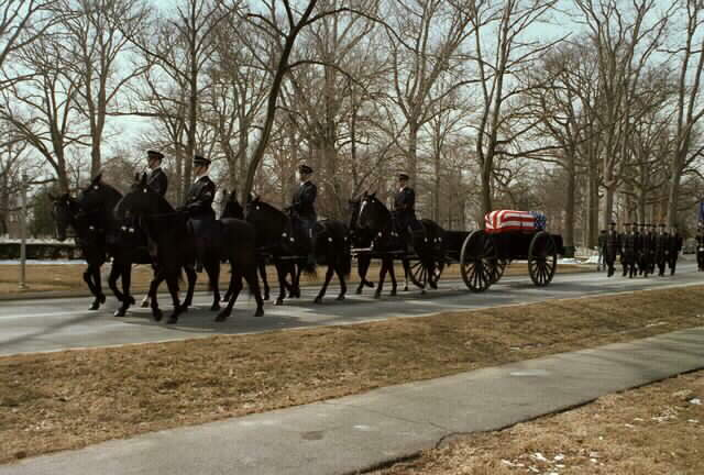 Carriage carrying James's body at his funeral service in Arlington, 1978