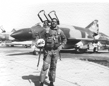 James with his F-4C Phantom in Thailand during his time in the Vietnam War
