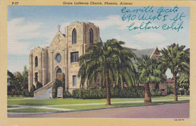 Historic postcard of Grace Lutheran. n.d.