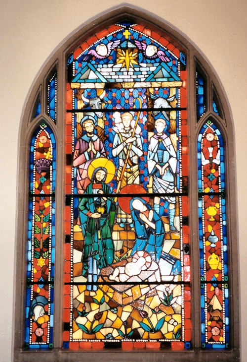 """The Incarnation."" One of 8 stained glass windows added in 1960."