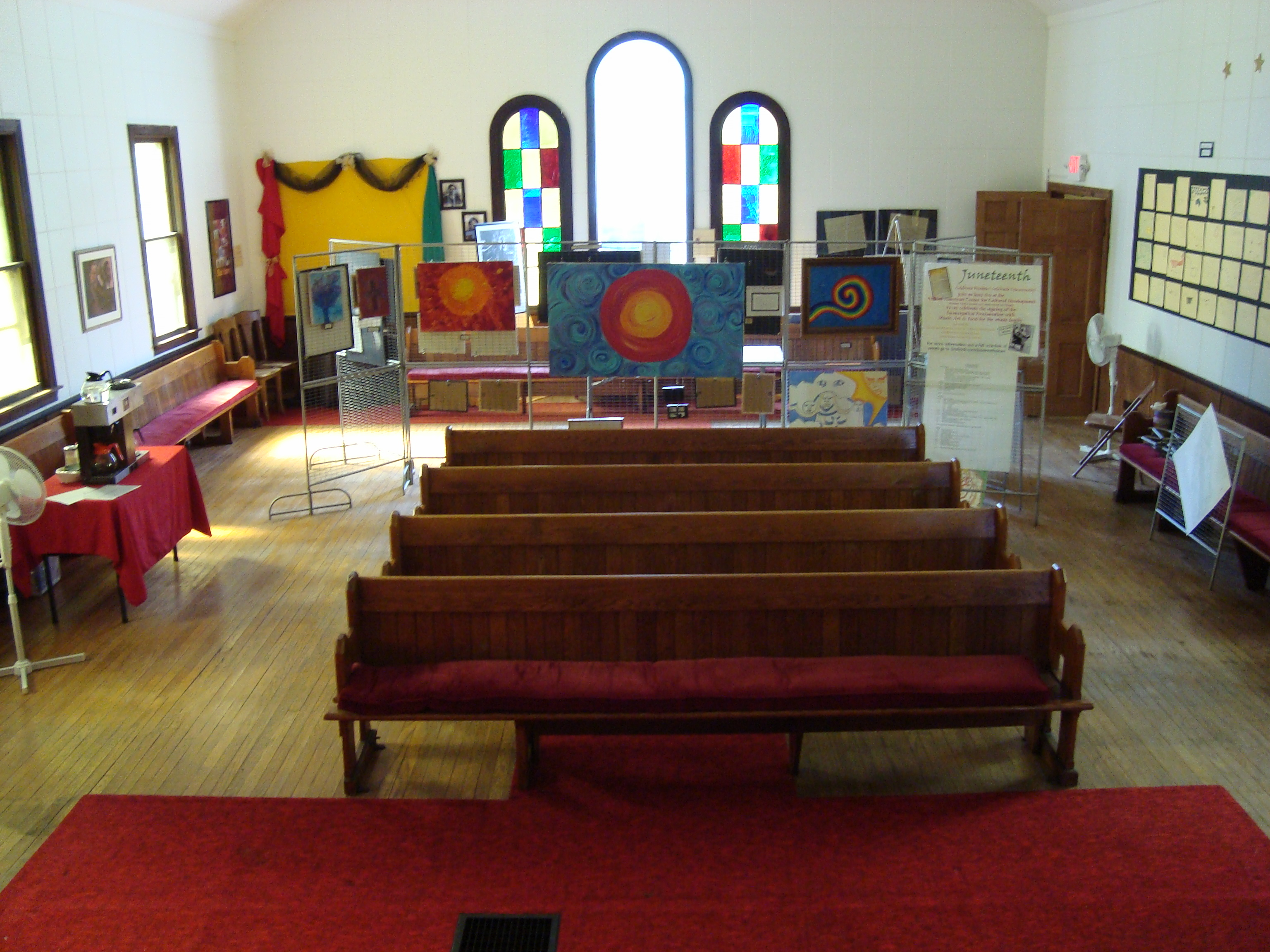 The interior space of the center while it was at the church.