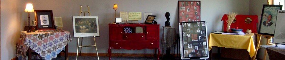 Historical artifacts on display at the center's former location in the AME church.