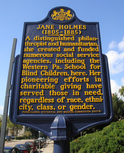 Jane Holmes' historic marker located in front of the Western Pennsylvania School for Blind Children. Established in 2007 by the Pennsylvania Historical and Museum Commission.