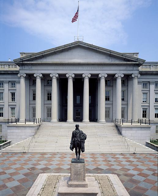Hamilton stands in front of the United States Treasury Building. He served as the first Secretary of the Treasury when it was located in New York City. Photo by Carol Highsmith, Library of Congress.