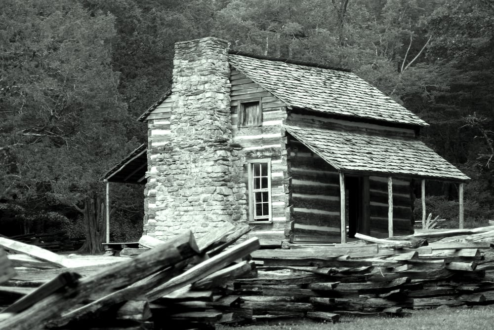 Historic Photo of the John Oliver Cabin in Cades Cove