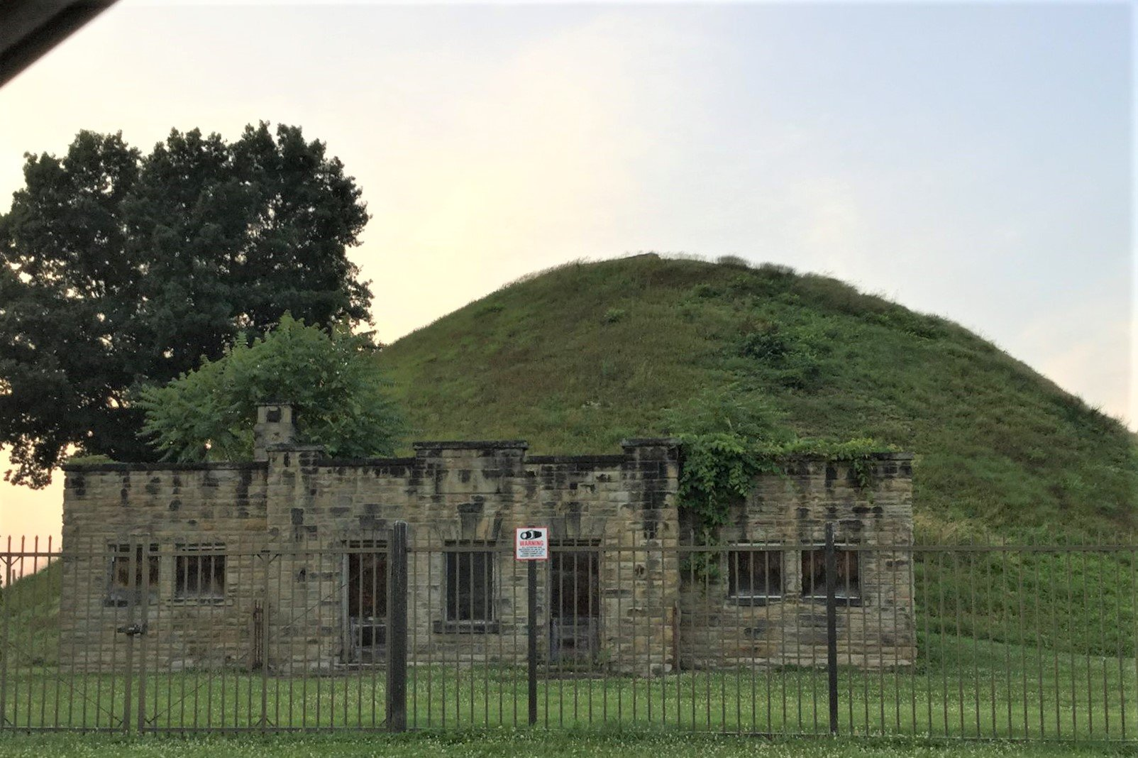 South side of the mound with the remains of the original museum.