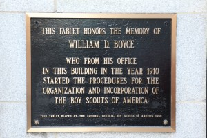 Plaque at 500 N. Dearborn commemorating William D. Boyce. Photo Credit: Peter V. Bella