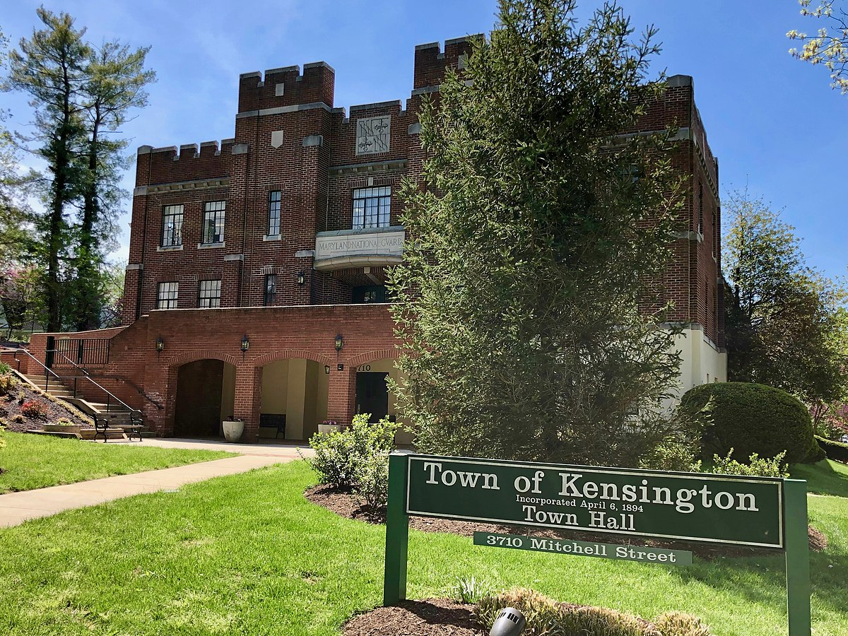 Constructed as an armory in 1927, this building is now home to Kensington's Town Hall..