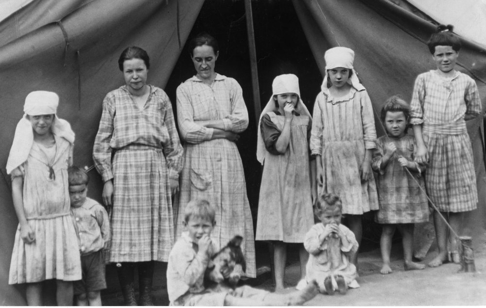 Miners' family in a tent colony, 1920.