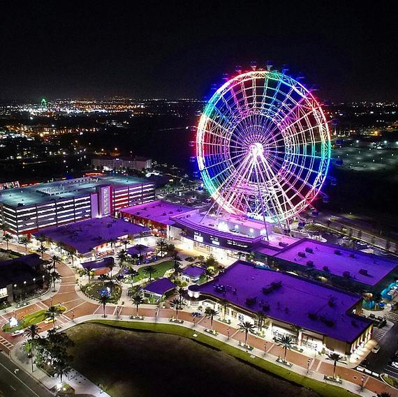 The Orlando Eye lights the night sky