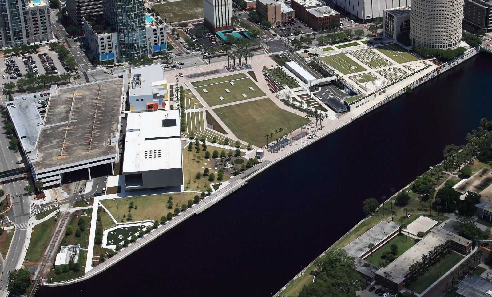 Curtis Hixon property today. The Tampa River Walk runs along the bay.