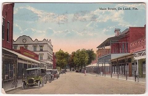 Vintage postcard depicting early DeLand, FL.