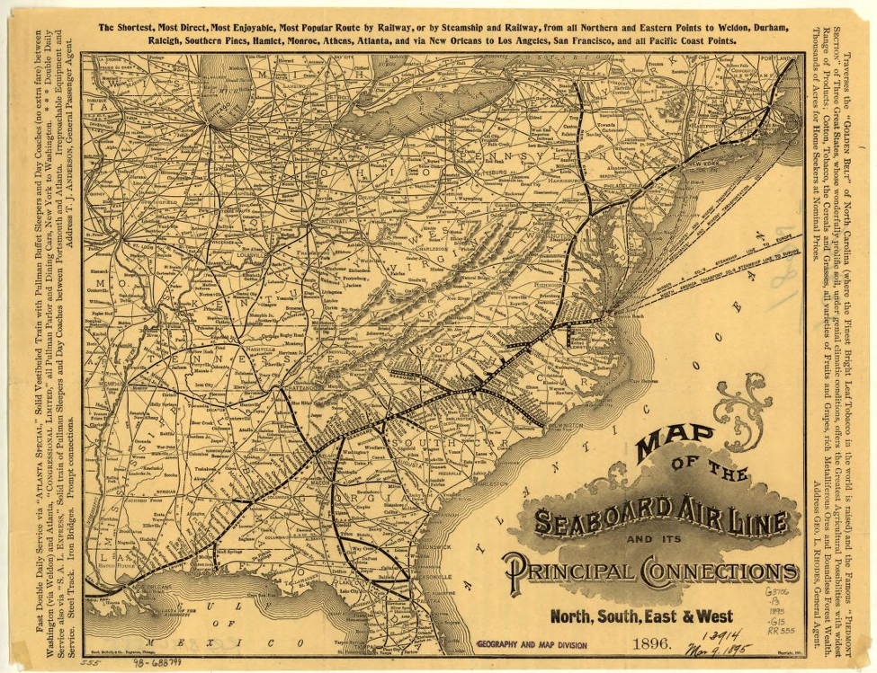 A map of the Seaboard Air Line Railways