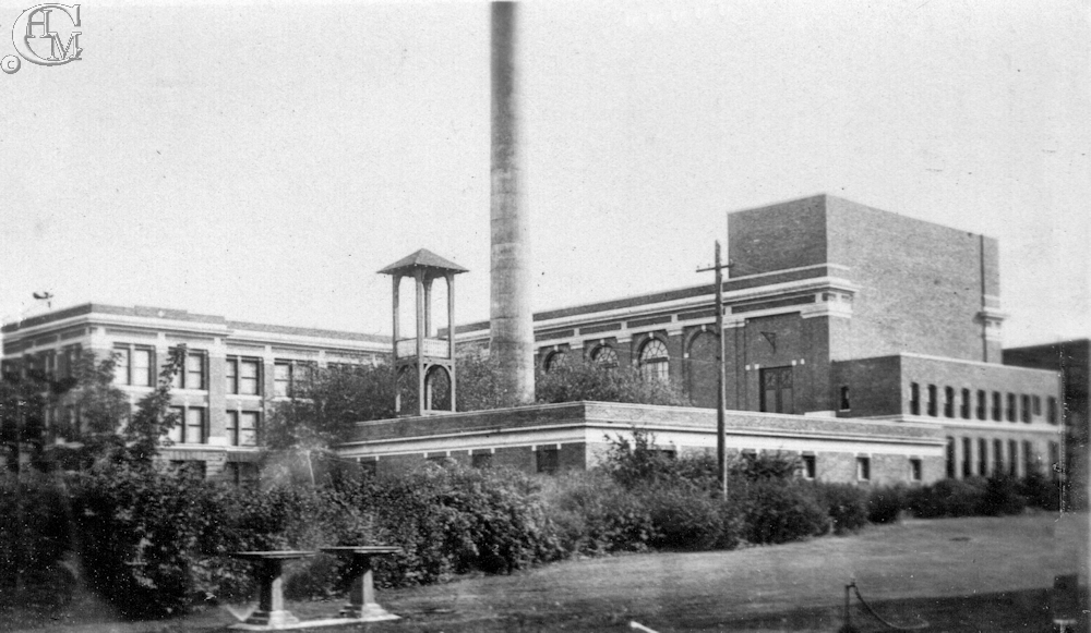 The Normal school heating plant with it's bell tower and chimney.