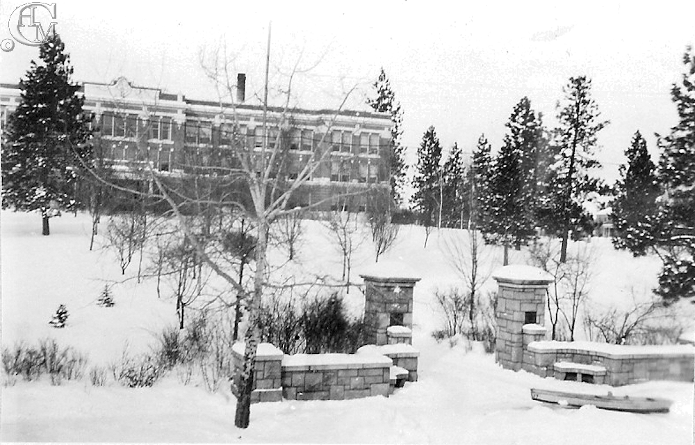 Herculean Pillars and Normal School Administration building in winter or 1937. Photo by Graham Dressler.