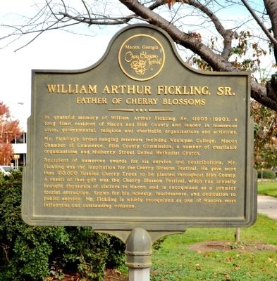 William Arthur Fickling, Sr. - Father of Cherry Blossoms Historic Marker