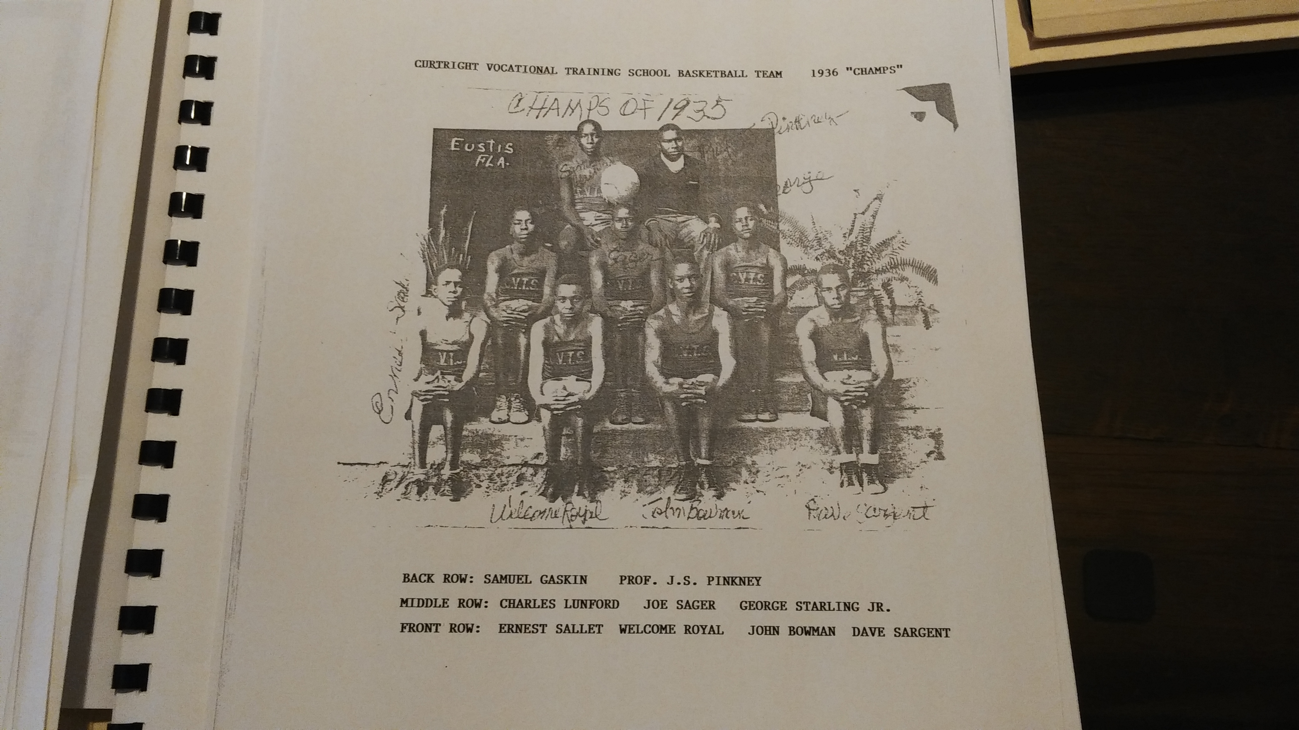 1936 Curtright Vocational Training School Basketball Team. Samuel Gaskin, Professor Pinkney, Charles Lunford, Joe Sager, George Starling Jr., Ernest Sallet, Welcome Royal, John Bowman, Dave Sargent