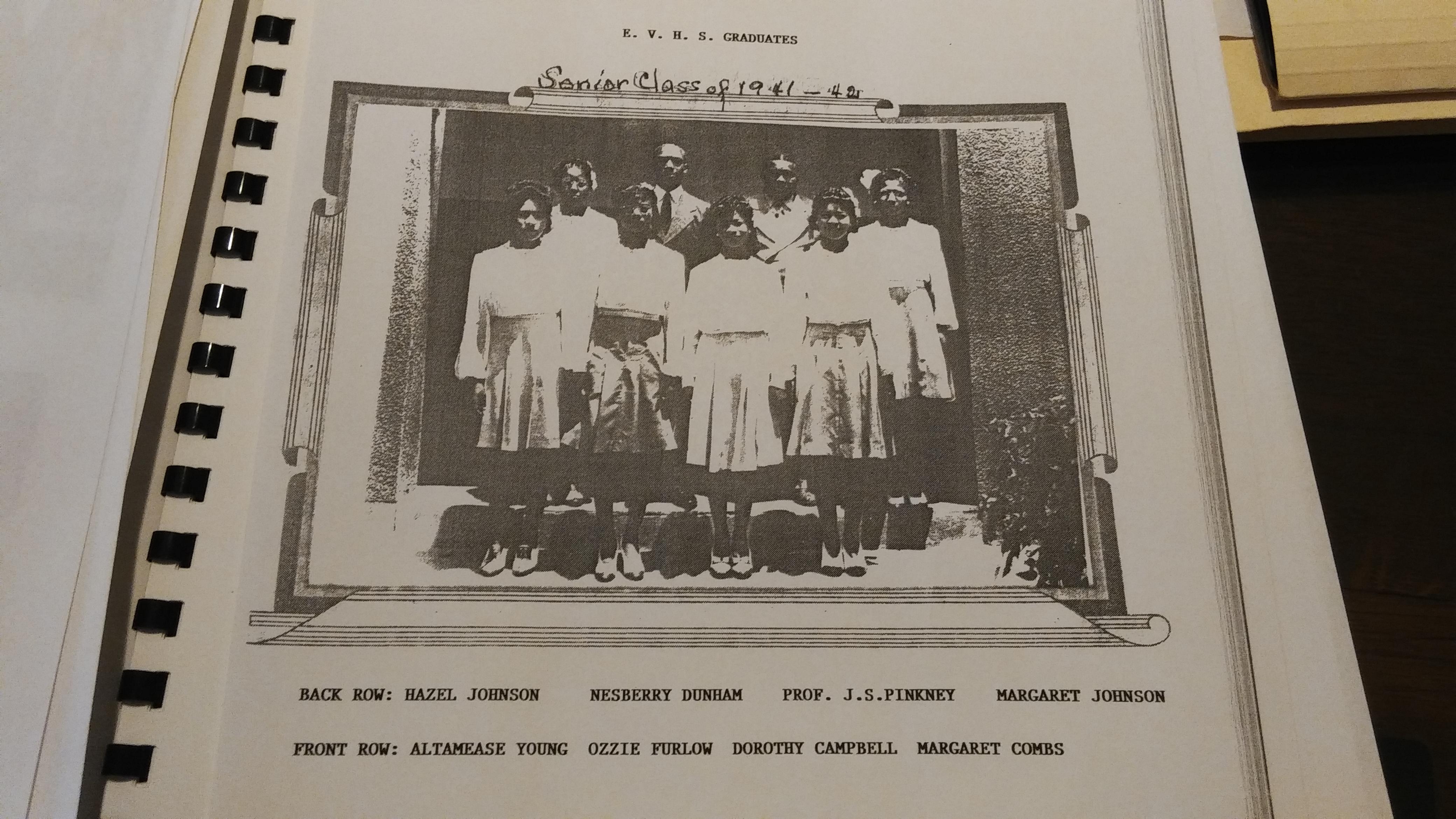 Eustis Vocational High School Senior Class of 1941-1942. Hazel Johnson, Nesberry Dunham, Professor Pinkney, Margaret Johnson, Altamease Young, Ozzie Furlow, Dorothy Campbell, Margaret Combs