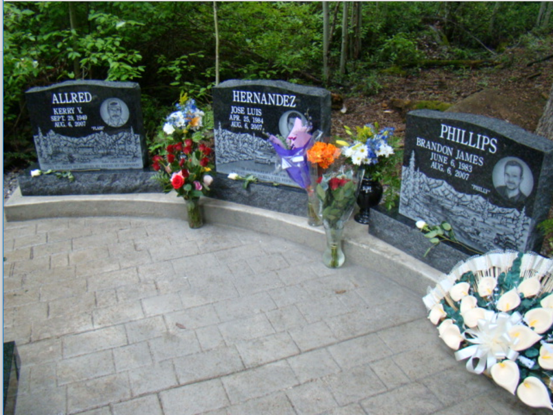 Head stones at the mine site in honor of the miners that were lost.