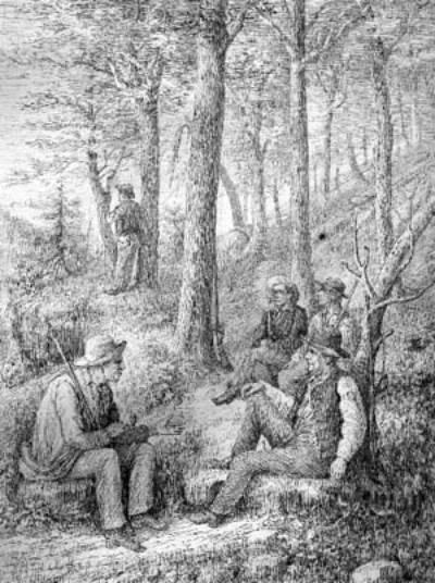 Doddridge County Militia (Ephraim Bee smoking pipe in center)