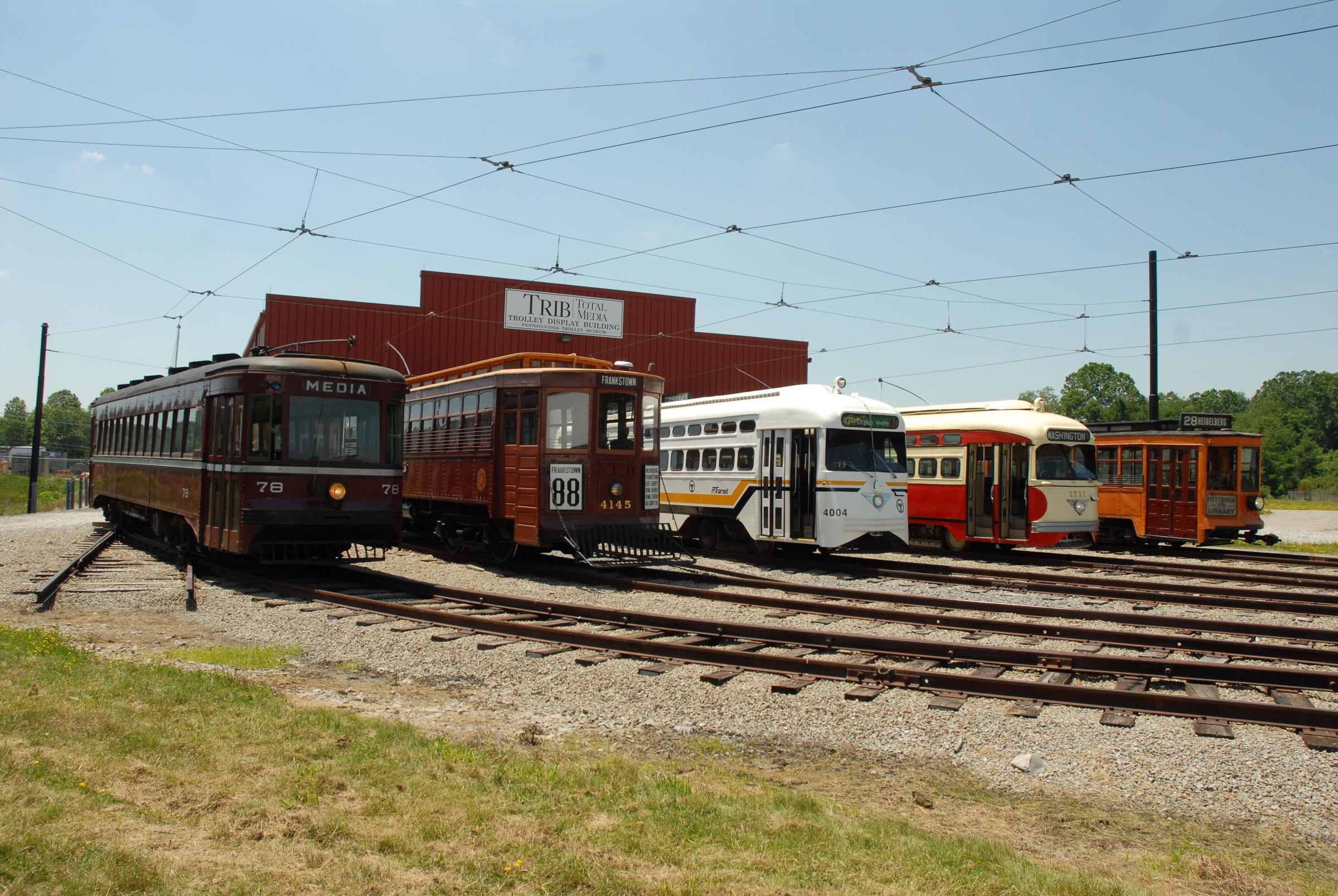 Historic trolleys on display outside the museum.