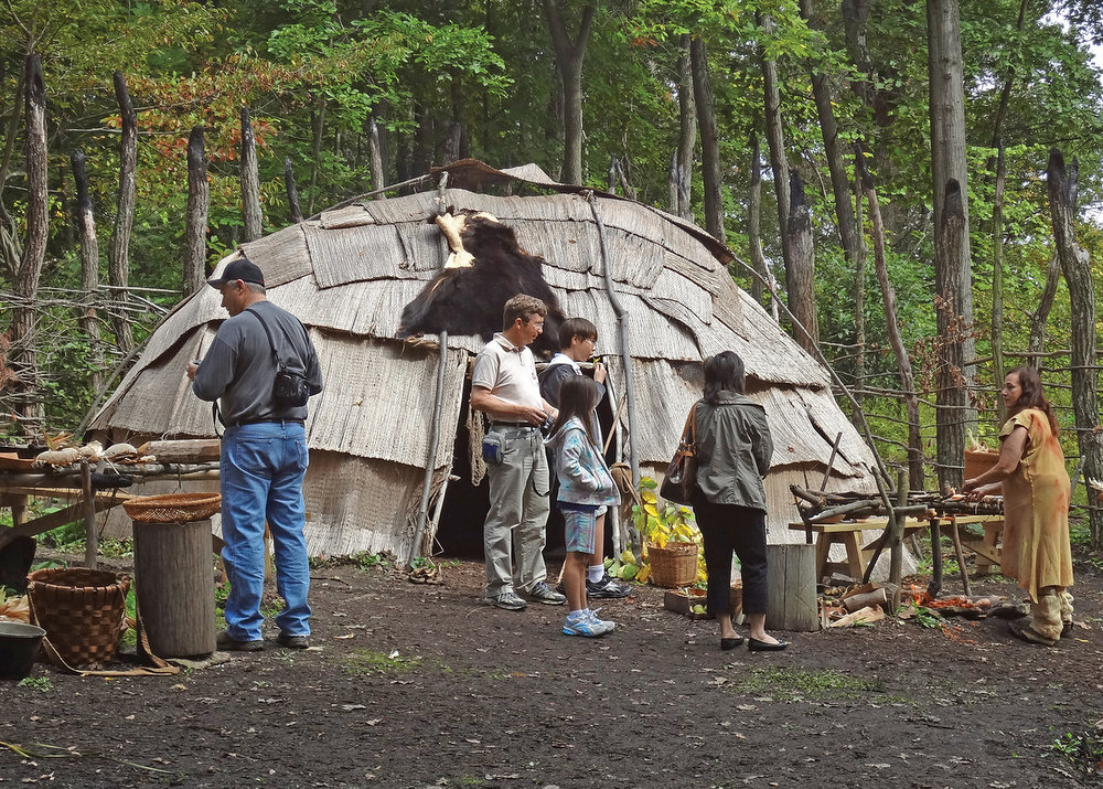 Part of the re-created Meadowcroft Native American village.