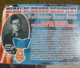 Picture of plaque describing Staff Sergeant Stanley Bender's actions at La Ladone, France in August 1944 earning him the Medal of Honor.