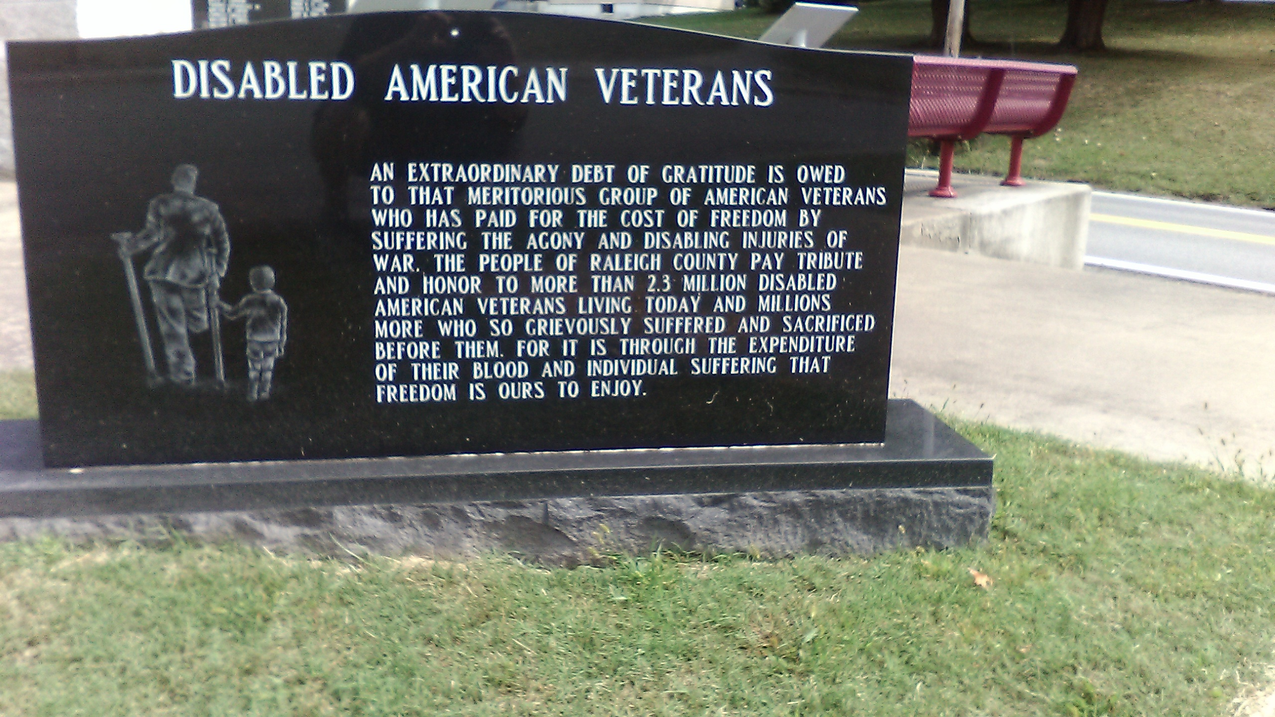 Picture of marker that honors all Disabled Veterans