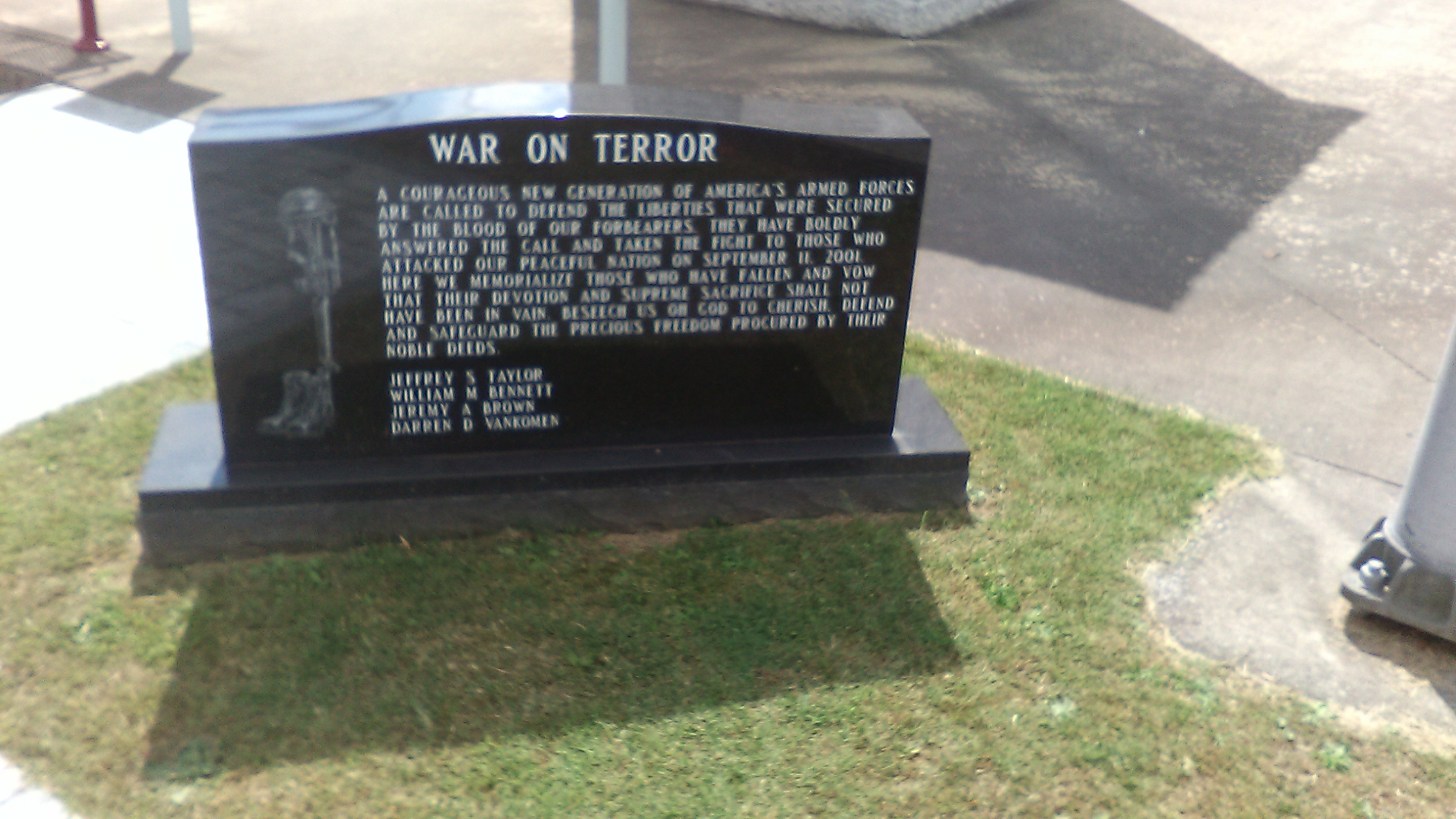 Picture depicts the marker with inscription honoring those who died during the War on Terror from Raleigh County, WV