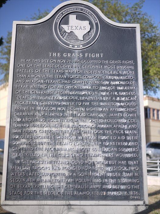 The marker is located near where the Grass Battle took place. The Texans defeated the Mexican force, but were only awarded hay that was to be fed to the cattle at the Mexican garrison.