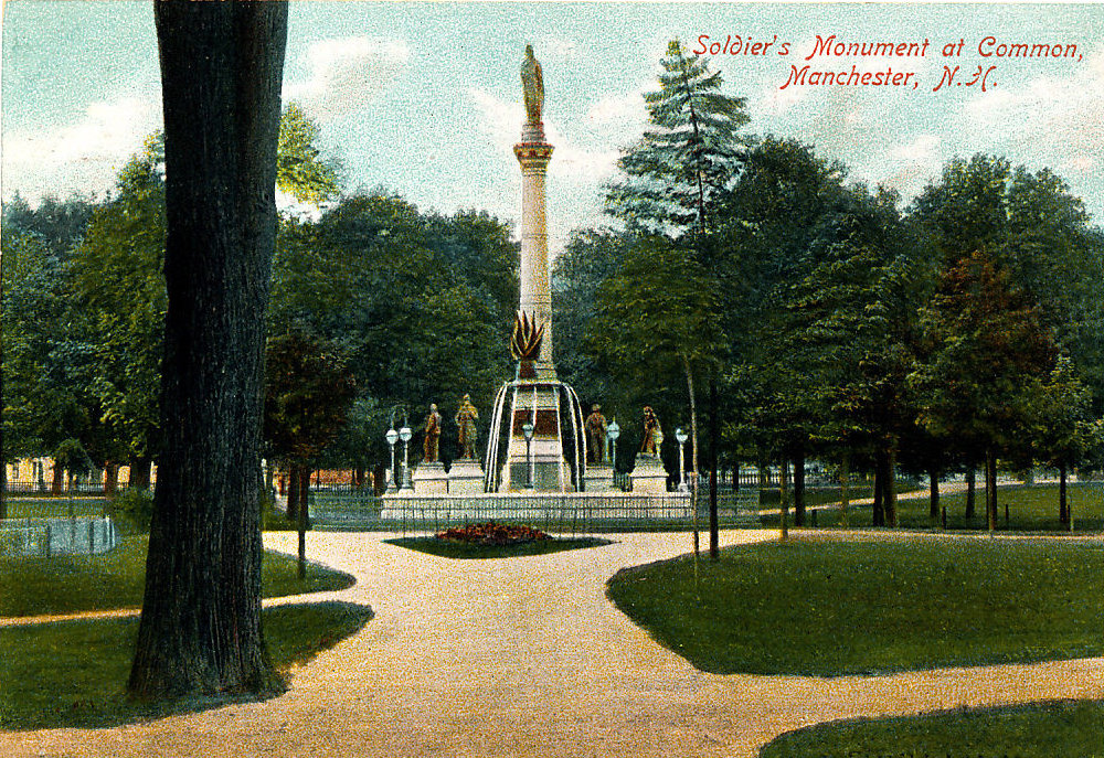 This postcard depicts Manchester's Veteran Memorial Park in the early 20th century.