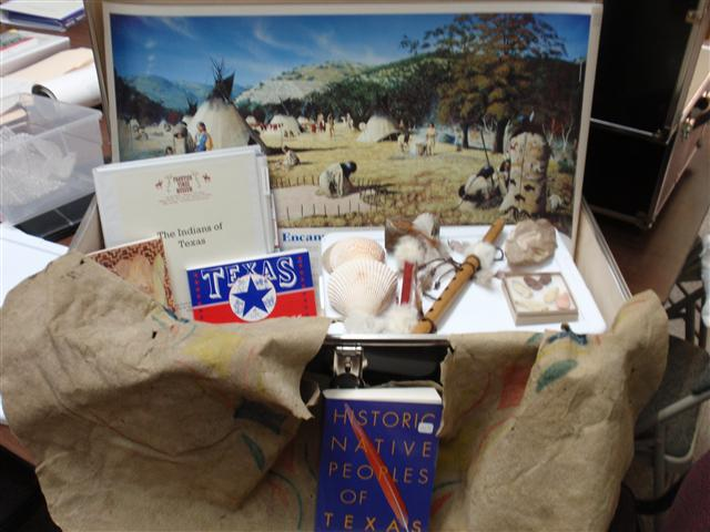 The Frontier Times Museum Learning Center offers a series of Texas History Traveling trunks, loaned for classroom use. This photo shows the Indians of Texas Traveling Trunk.