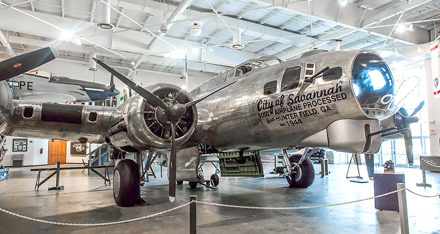 "The B-17 Bomber, known as ""The City of Savannah,"" is currently being restored to its complete configuration."