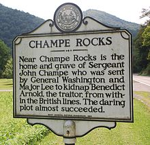 John Champe historical marker near Champe Rocks
