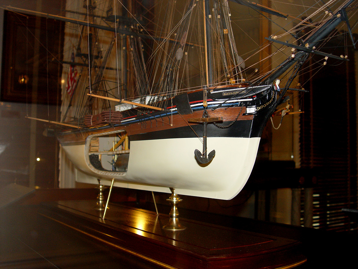 The model of the SS Savannah steamship