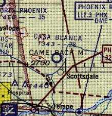 The Casa Blanca Inn Airport was described in the Aerodromes table on the 1956 Phoenix Sectional chart as having a single 2,800' bare runway. (John Voss)