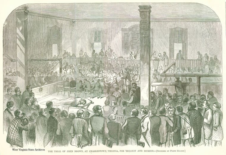 The courthouse became famous for hosting the trial of John Brown October 1859. For the entire trial Brown was confined to a stretcher due to his injuries. Image obtained from the West Virginia Division of Culture and History.