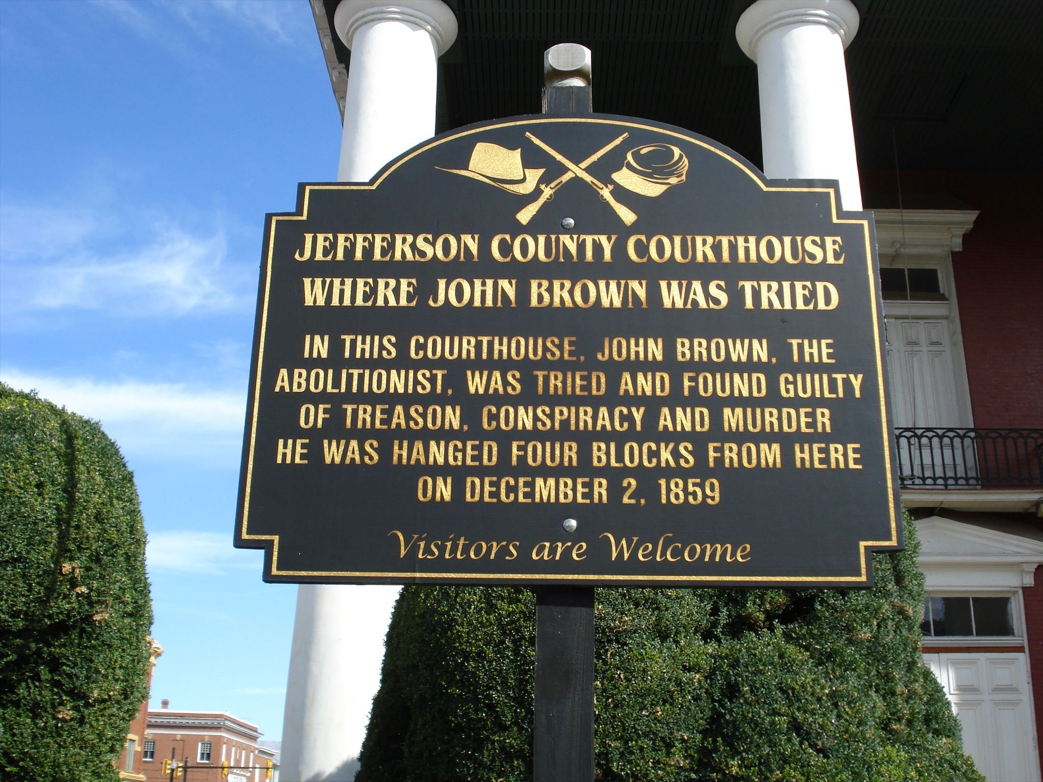 A marker stands in front of the courthouse today commemorating the trial of John Brown. Image obtained from waymarking.com.