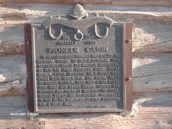 This is a photo of the plaque that is on the front of the cabin. Photo Cred. Jamie Powell