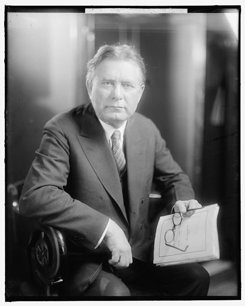 Senator William E. Borah, known for contributing to labor policy and defeating the Treaty of Versailles. Photo, undated, by Harris & Ewing, Library of Congress.